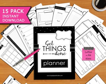 Get Things Done Printable Planner Pack of 15 Templates including Calendars, To-Do Lists, Checklists, Project & Health Trackers...(Letter,A4)