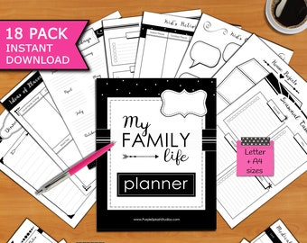 My Family Life Printable Planner Pack of 18 Templates including Calendars, To-Do Lists, Checklists, Project & Medical Trackers...(Letter,A4)