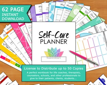 Self-Care 62p Planner 50ppl License: Life Coach, Therapist, Psychologist, School, Counselor Workbook Handouts (Self-Love, Mindset, Health)