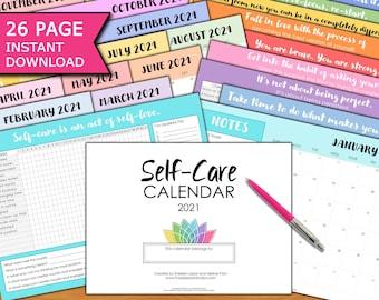 Self-Care 2021 Calendar 26p: Self-Love, Self-Help, Metal Health, Gratitude, Goals, Checklists, Trackers, Positive Mindset, Planner, Organize