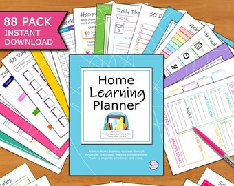 Home Learning Planner 88p Printable: Achieve in-home learning success through structure, checklists... (For remote school, homeschool,...)