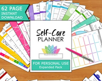 Self-Care 62p Planner Workbook (Personal Use EXPANDED ED): Self-Love, Self-Help, Mindset, Health, Gratitude, Goals, Checklists, Trackers