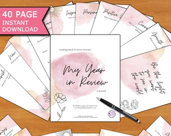 Year In Review 40p Journal Workbook (Personal Use): Reflect, Plan, Self-Growth, Self-Care, Self-Help, Development, Mindset, Goals, Gratitude