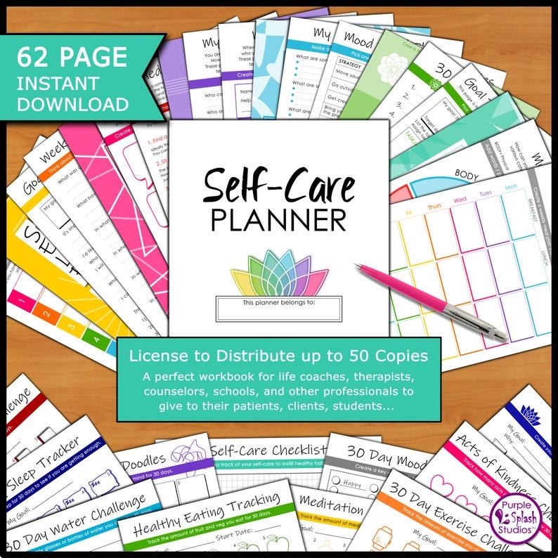 Self-Care 62p Planner 50ppl License: Life Coach Therapist image 1