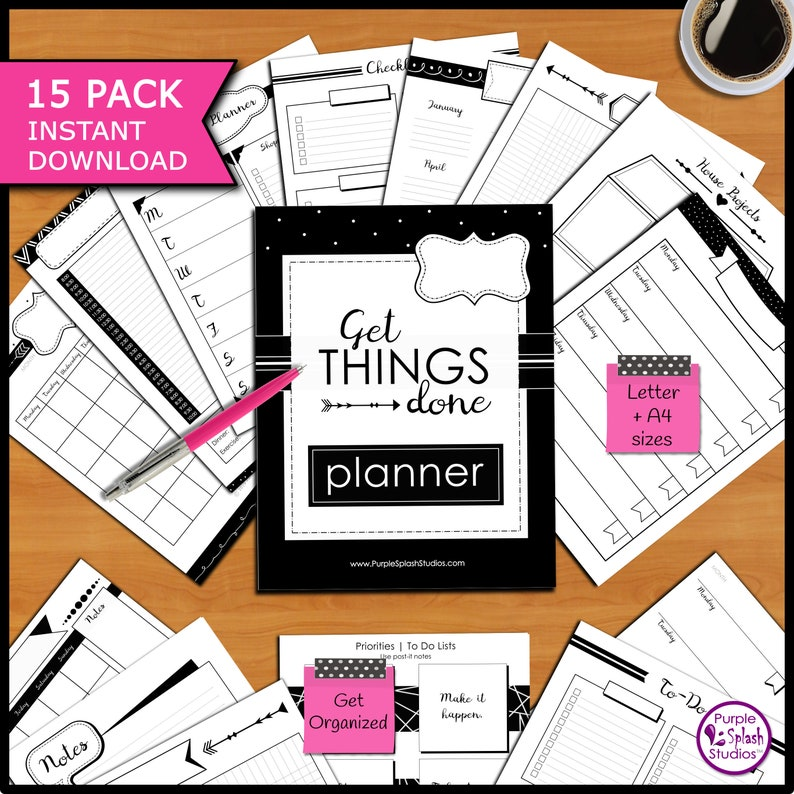 Get Things Done Printable Planner Pack of 15 Templates image 0