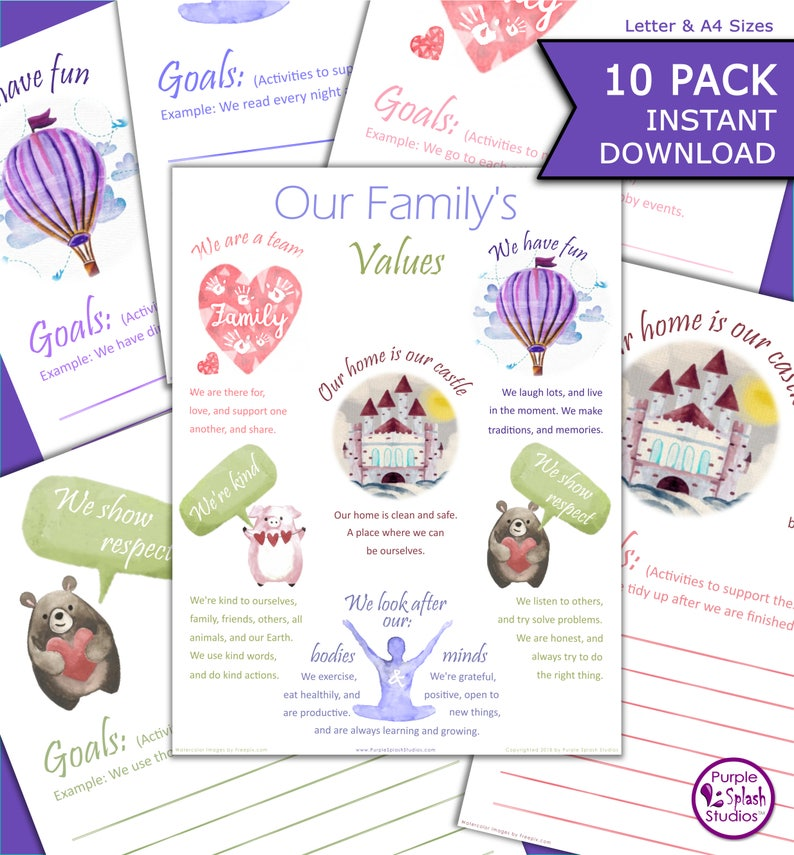 image regarding Home and Family Christmas Workbook identified as Spouse and children Values Poster 9 Function Worksheets towards Deliver Your Relatives Nearer Alongside one another (Letter and A4) Watercolor