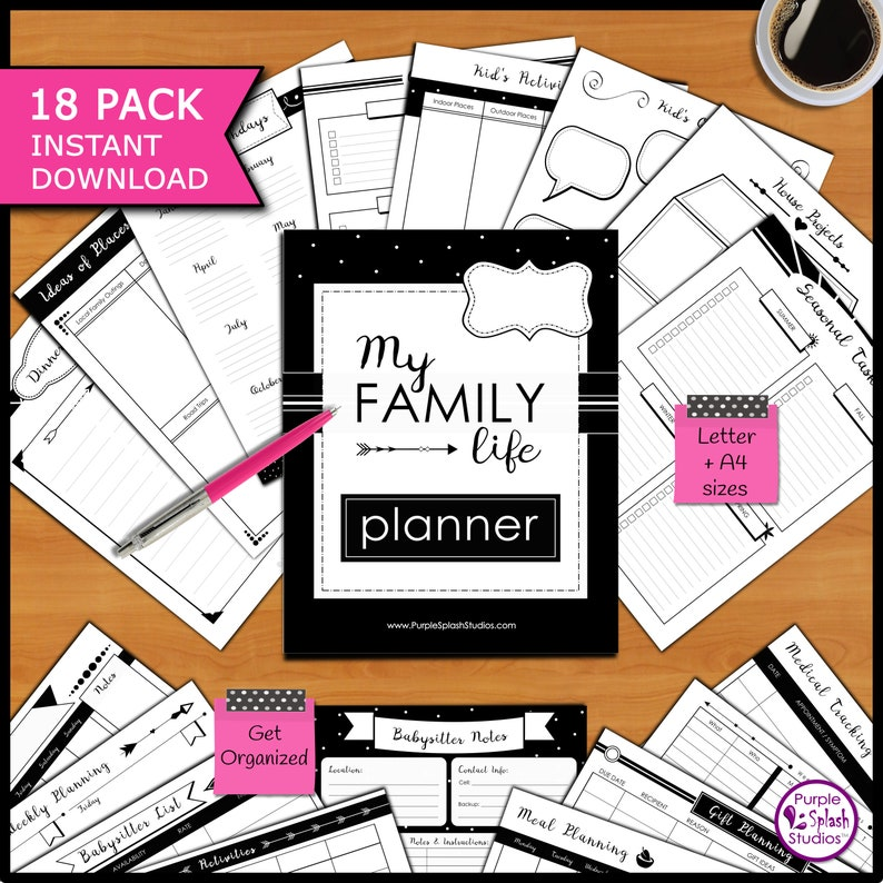 My Family Life Printable Planner Pack of 18 Templates image 0