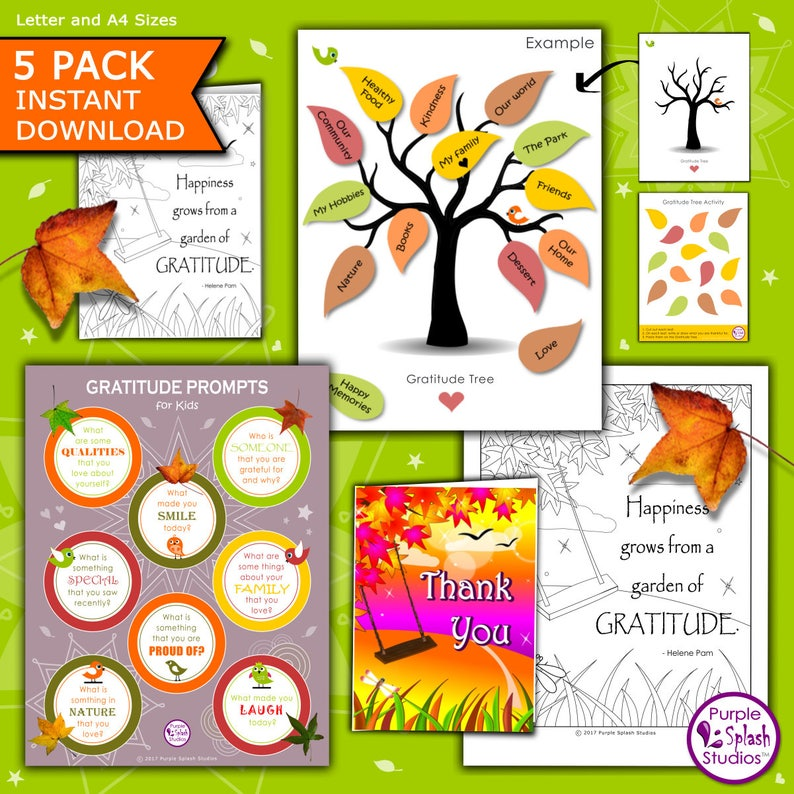 Gratitude Printable Kids Activities. 6 Pages including image 0