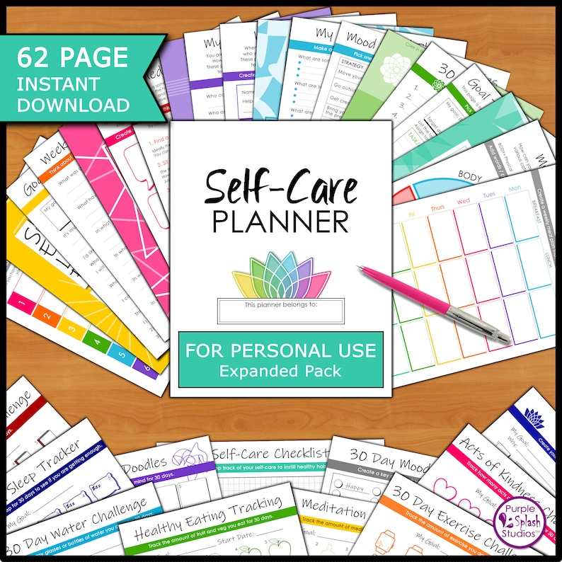Self-Care 62p Planner Workbook Personal Use EXPANDED ED: image 1