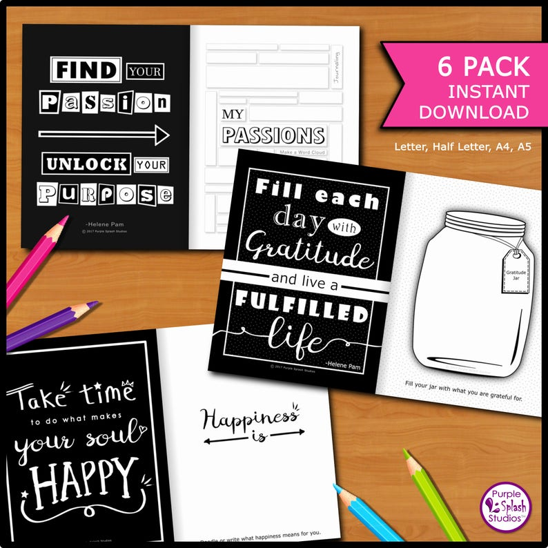Self-Discovery Printable Journal 6 Pack with Creative image 0