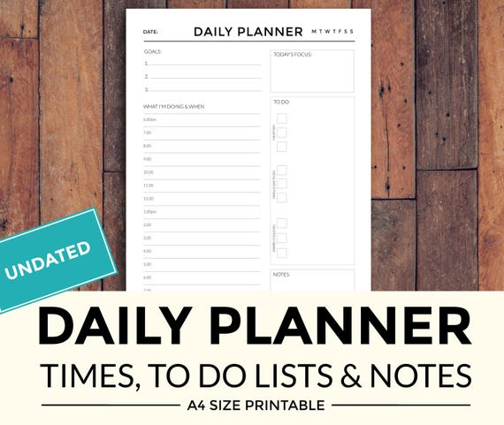 printable daily planner with times to do lists and notes etsy