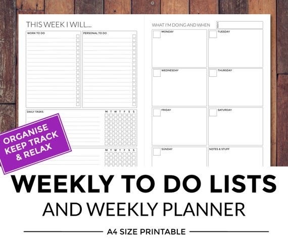 photograph relating to Printable Weekly to Do List identified as Printable weekly toward do record and weekly planner
