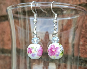3b9ac030f Cute retro floral lilac and crystal beaded earrings, unique upcycled beads,  tea party, pretty lilac flowers, dainty earrings, summer colours