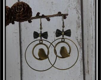 Bronze birds in circles earrings