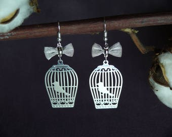 """Earrings in Silver """"cage & bow"""""""