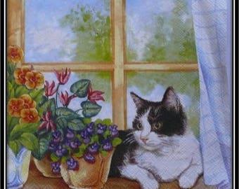 """napkin """"cat on windowsill flower"""""""
