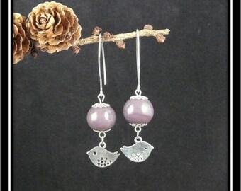 Silver birds and purple bead earrings