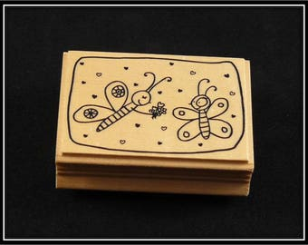 """Wooden rubber stamp """"butterfly couple"""""""