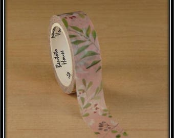 """masking tape """"Purple berries and green branches"""" on pink and white 15mm x 7 m"""
