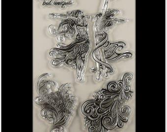"""stamp clear dancing couple, feather """"not perfect, unique purpose"""""""