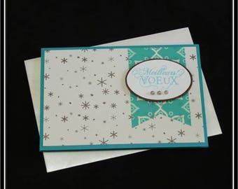 Double card, snowflakes rain