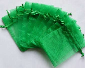 set of 10 green organza bag 8 x 10