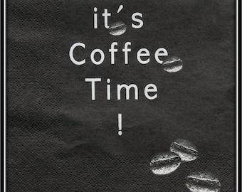 """serviette en papier """"it's coffee time"""""""