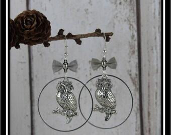 OWL in silver circles earrings