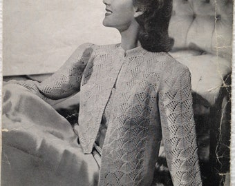 Vintage 1940s Patons Knitting Pattern for Ladies Bedjacket - no. 828