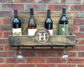 Personalized Wine Bottle Holder and Glass Rack, Wine Rack, Glass Rack, Custom Wine Rack, Gift for Her, Bottle Holder, Wall Wine Rack