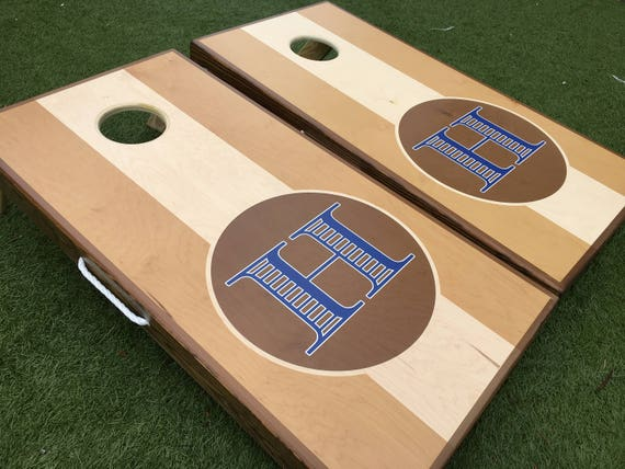Custom Wedding Cornhole Boards Tri Color Monogram Monogram | Etsy
