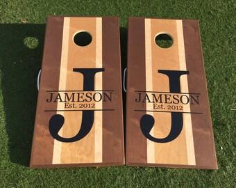 Custom Cornhole Boards with Initial & Last Name, Cornhole Boards, Monogram Cornhole Boards, Wedding Cornhole Board, Initial Cornhole