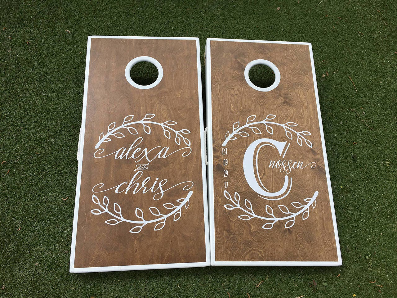Monogrammed Leaf Wedding Cornhole Boards, Wedding Cornhole Boards ...