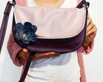 a4c9a1d1eb Borsetta viola, rosa e blu in pelle sintetica. Borse con tracolla. Borse  fatte a mano. Borse piccole a tracolla. Idea regalo per lei.