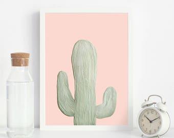 Cactus Print, Cactus wall art, Cactus South Western decor, Desert Cactus print, Downloadable Cactus, Cactus painting, Pink and green cactus