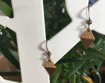 Bronze and gold earrings