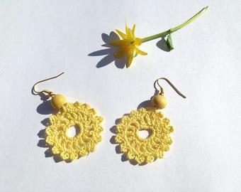 Crocheted yellow cotton flower Stud Earrings