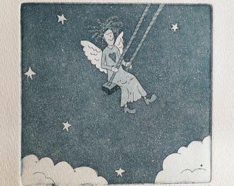 Angel Etching Print