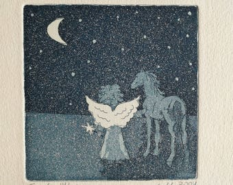 Angel and Horse Etching Print