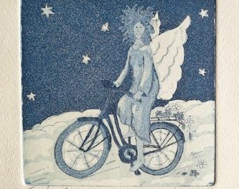 Biking Angel Etching Print