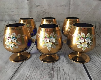 Vintage Hand Painted Blue Glass Gold Floral Minature Italian Wine Glass Set of 6