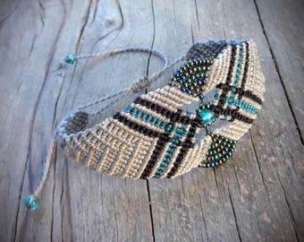 macrame bracelet with glass seed beads