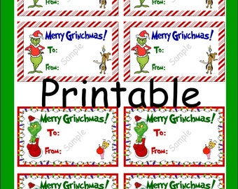 image relating to Grinch Pills Printable named Grinch labels Etsy