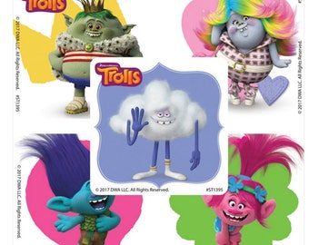 Personalised Trolls DJ Suki Stickers Birthday Party Thank You Sweet Cones Bag