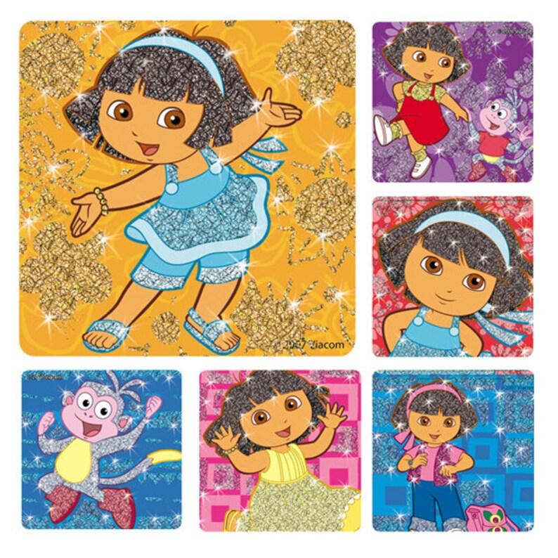 "20 Dora The Explorer Glitter Stickers 2.5/"" x 2.5/"" Party Favors"