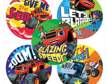 "25 Blaze and the Monster Machines Stickers, 2.5"" x 2.5"" Each"
