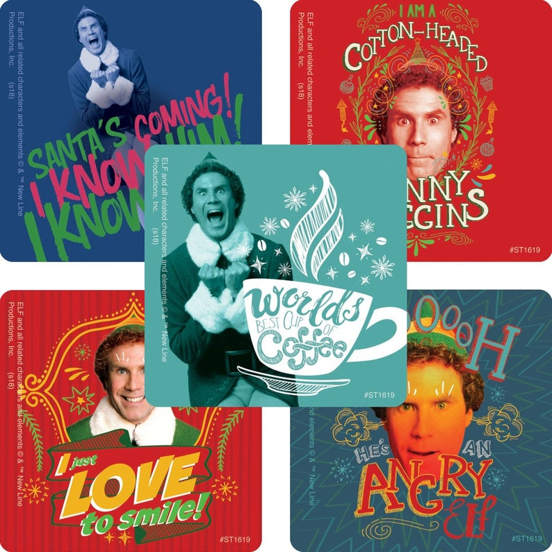25 Buddy The Elf Will Ferrell Christmas Stickers 2 5 X 2 5 Each