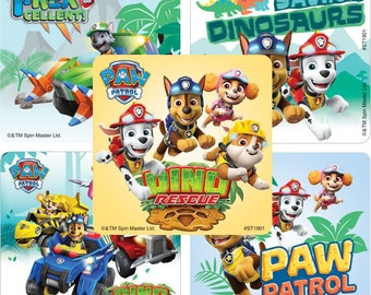 "25 Paw Patrol Dino Rescue Stickers, 2.5"" x 2.5"" Each"