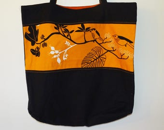 Shopping Bag with Birds in Black and Orange