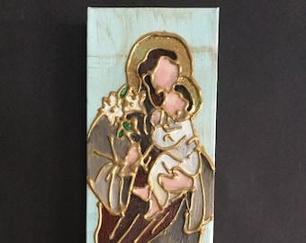 4 x 12 Mixed Media Panting of St. Joseph and Baby Jesus